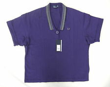 NEW FRED PERRY G6748 WOMENS BLUE OVERSIZED PIQUE POLO SHIRT SIZE 12
