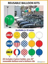 "Reusable Balloon Kit with 20"" balloon, 2 piece holder & clip 15 styles 1 / pack"