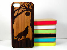 Howling Wolf Case for iPhone 5C Bamboo Wood Cover Full Moon Spirit Animal Husky