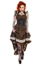 BANNED LONG BLACK BROWN STRIPE COPPER LACE STEAMPUNK VTG VICTORIAN CORSET DRESS