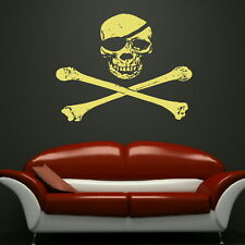 SKULL AND CROSSBONES vinyl wall sticker / decal giant tattoo picture print ra154