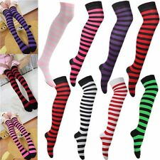 Lady Stripe Stripy Over Knee Striped Patterned Thigh High Long Cotton Socks Sox
