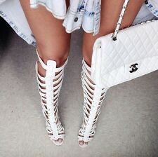 NEW OPEN TOE STRAPPY WHITE GLADIATOR CUTOUT HIGH HEEL STILETTO SANDAL PUMP  BOOT