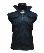 Mens Sleeveless Mix Cotton Jacket Black Colour