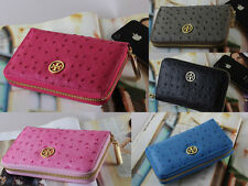 """Brand New In Box Woman Tory Burch Ostrich leather Zip Wallet 6.2""""x 3.7"""""""