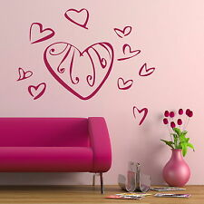 Lovely Hearts Wall Sticker / Vinyl Art Decal Transfer / Big Graphic Stencil NE79