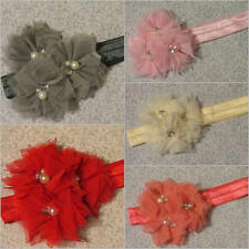 NEW Jeweled Tulle Triple Flower Satin Stretch Headband