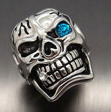 MENS Huge Silver Skull Blue Eye Cigar CZ 316L Stainless Steel Biker Punk Ring