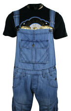 Mens Casual Dungarees Jeans Denim Light Blue Stone Wash Turn Up