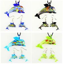 B5620 Three glass lampwork dolphin pendant beads & earring