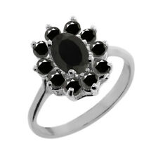 1.01 Ct Oval Black Onyx Black Diamond 18K White Gold Ring