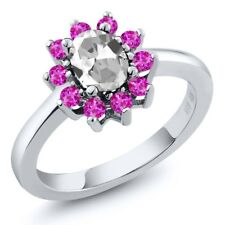 1.45 Ct Oval White Topaz Pink Sapphire 14K White Gold Ring