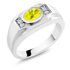 1.76 Ct Canary Mystic Topaz White Created Sapphire 925 Silver Men's Ring