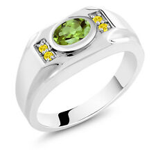 1.53 Ct Oval Green Peridot Yellow Created Sapphire 925 Silver Men's Ring