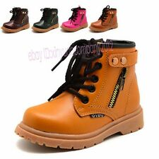 Boys Girls Martin Boots Kids Childrens Leather Oxfords Shoes Boots Winter TT68