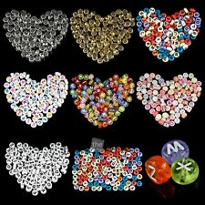 4x7mm 100pcs Acrylic Mixed Alphabet Letter Coin Round Flat Jewelry DIY Beads