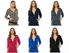 NEW! Juicy Couture Velour Hoodie in Leopard print Blue Black Gray or Pink SOFT!