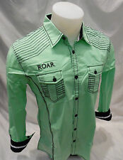 Roar Mens Long Sleeve Button Down Shirt Neon Green Size Large W52002 NWT NEW
