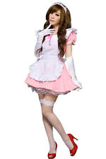 Lolita Cute Japanese Maid Cosplay Coffee Shop Costume Pink Cafe Waitress
