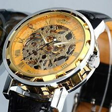 Mens Transparent Steampunk Skeleton Mechanical Man Black Leather Wrist Watch