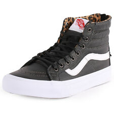 Vans Sk8-Hi Slim Zip Womens Leather Black Trainers New Shoes All Sizes