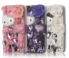 For Samsung Galaxy S5 i9600 3D Luxury Bling Hello Kitty Leather Flip Wallet Case