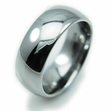 Mens Ring Tungsten Carbide Wedding Band Smooth Silver 8mm Mirror Polished Domed