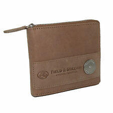 New Field & Stream Mens Leather RFID Protected Zip Around Wallet
