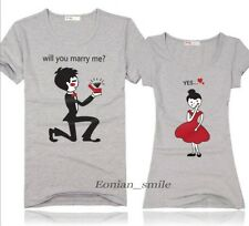 EYA6223 Will you marry me ? Yes! Couple Lovers Tee T-Shirt  Lycra Cotton Summer