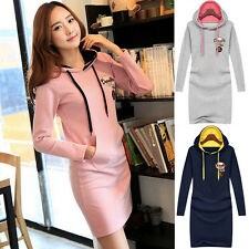 Autumn Winter Womens Slim Sweats Casual Long Sleeve Hooded Coats Dress XXS~2XL
