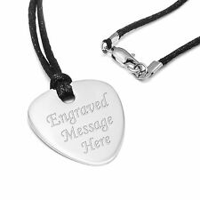 Polished Steel Personalised Guitar Pick Engraved Plectrum Pendant Musicians Gift