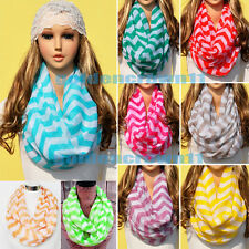 Light Soft Chevron Zigzag Stripe Infinity Loop Circle Cowl Scarf