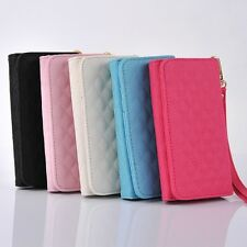 PU Leather Pouch Wristlet Clutch Bag Wallet Flip Case Cover for Apple Cell Phone