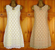 NEW MONSOON WHITE YELLOW BROWN ORANGE COTTON BRODERIE SUMMER DRESS VINTAGE STYLE