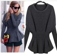 Runway PURE CASHMERE Jumper Sweater Top Wool Knit blouse PEPLUM Office PLUS SIZE