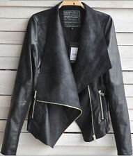 Fashion Vintage Women Slim Biker Motorcycle Faux Soft Leather Zipper Jacket Coat