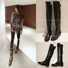 Vogue Women PU Leather Stretch Over The Knee Low Heel Thigh-High Boots Shoe KQJ