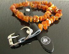 FLEA TREATMENT RAW BALTIC AMBER DOG NECKLACE WITH LEATHER STRAP / COLLAR