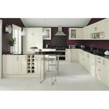 SOFT-PALE CREAM KITCHEN CABINETS BASE AND WALL UNITS, WITH DOORS AND HANDLES