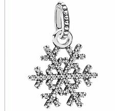 Sterling Silver  Winter Kiss Snowflake with Clear CZ Pendant bead bracelet charm