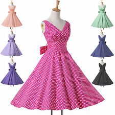 CHEAP Vintage 50's 60's Polka Dot Rockabilly Swing Party Evening Housewife Dress
