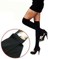 Wool Toe-Less Thigh Socks Over Knee-Socks Stockings