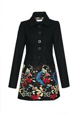 NEW Desigual Black Coat Dress robe Manteau Blazer floral embroidery jacket veste