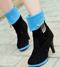 Womens Faux Suede Pointed Toe Mid Calf Boots High Heel Metal Mixed Color Shoes