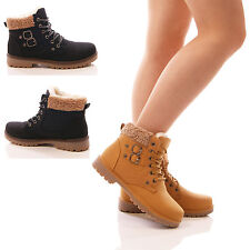 LADIES FUR LACE UP ANKLE BOOTS CASUAL FLAT HI TOP TRAINERS CASUAL SHOES SIZE