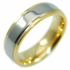 Real Titanium with 18k Gold IP Wedding Band Promise Ring, Light Solid, Men Women