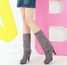 Women Fashion Round Tops Faux Suede Knee High Boots High Heel Boots Shoes