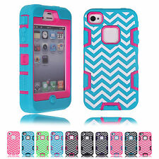 2014 CHEAP Chevron Wave Stripe Silicon PC Armor Phone Case Cover For iPhone 4 4S