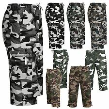 NEW MENS MILITARY COMBAT CAMO CARGO STYLE CAMOUFLAGE ARMY SHORTS ALL SIZES 28-46
