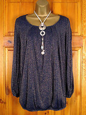 NEW EVANS LADIES NAVY BLUE & SPARKLY GOLD GLITTER TUNIC PARTY TOP UK SIZE 16-28